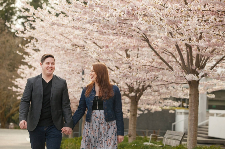 cherry blossom engagement photos in vancouver