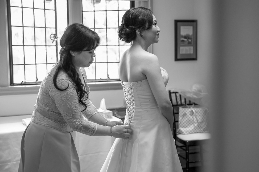Bride getting ready at Vancouver Brock House Wedding